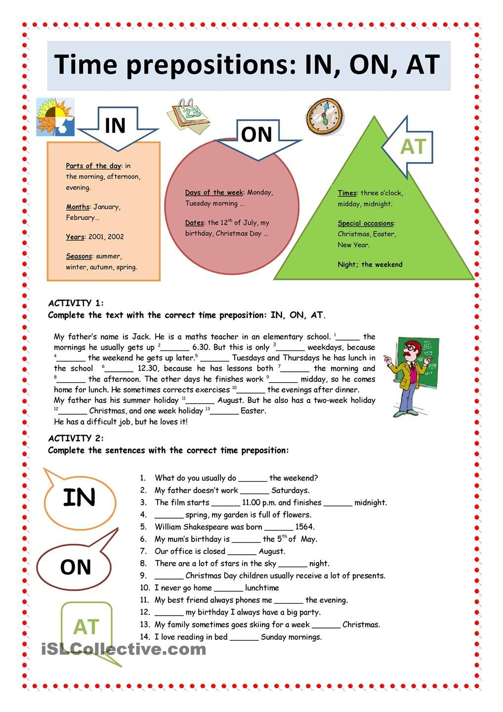 Time Prepositions IN, ON, AT ESL Pinterest English