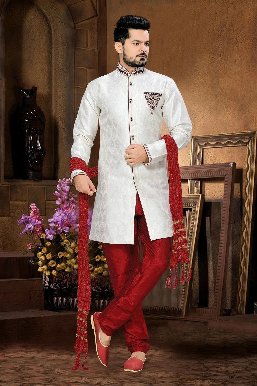WeddingwearwhiteIndianmen'ssherwaniinjacquard
