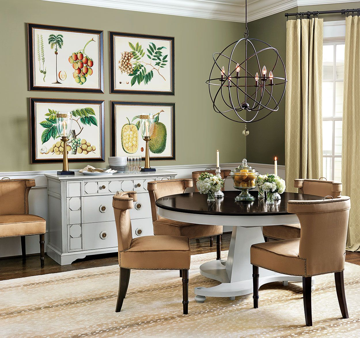 Dining Rooms Olive green walls, Green wall color and