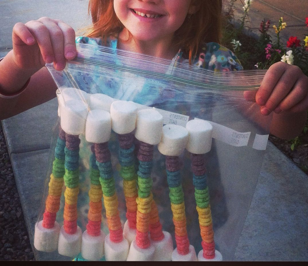 Rainbow Snack Marshmallows And Fruit Loops On A Wooden Skewer Preschool