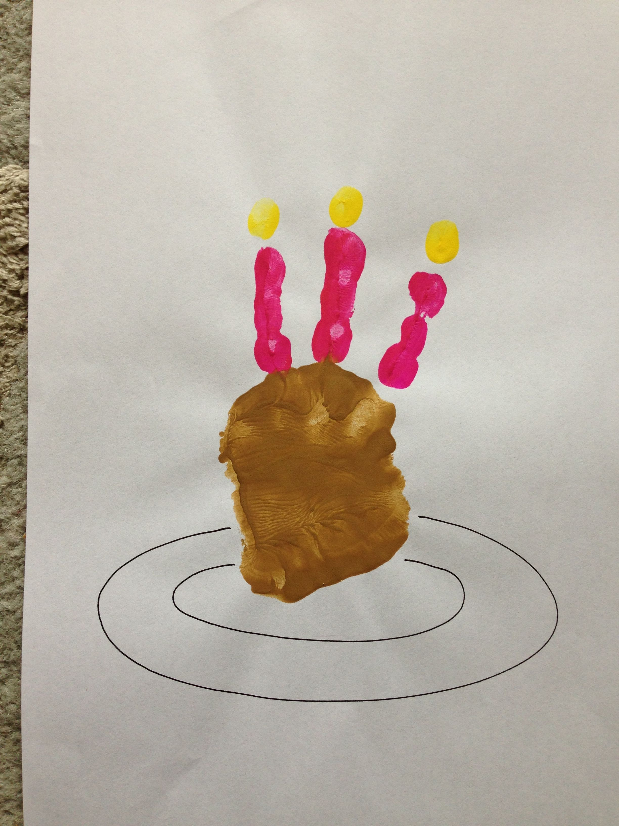 Kids Handprint Birthday Cake Craft Activity Happy Birthday Jesus