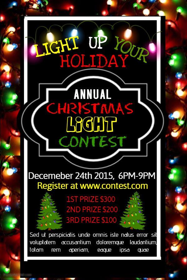 Christmas Lights Contest Poster Template Christmas