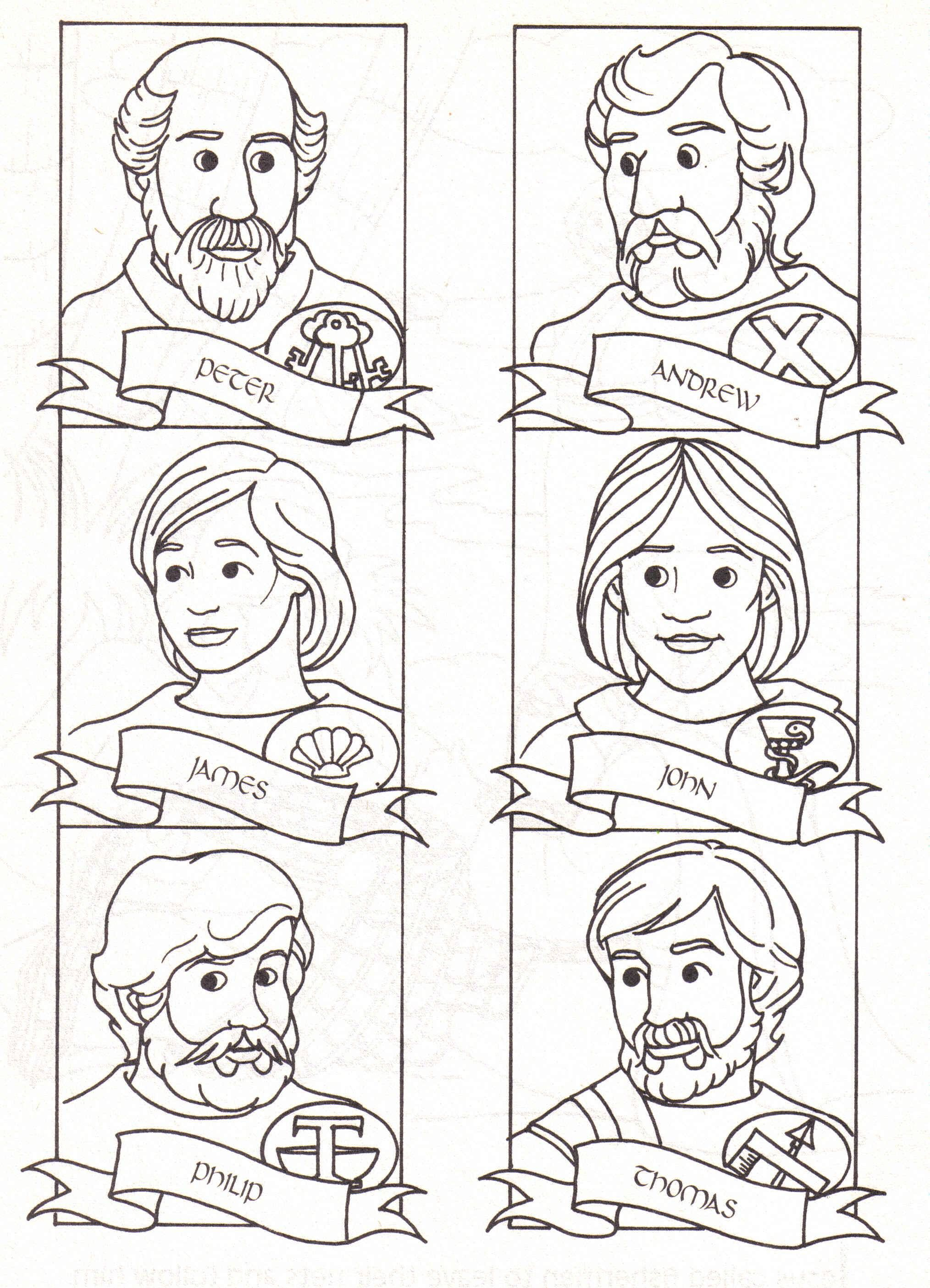 12 Disciples Coloring Page Download