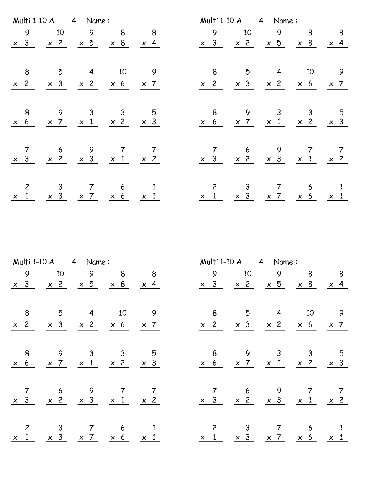 Multiplication Pages To Print