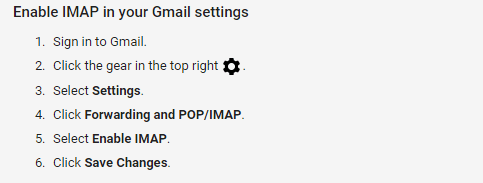 imap settings for gmail