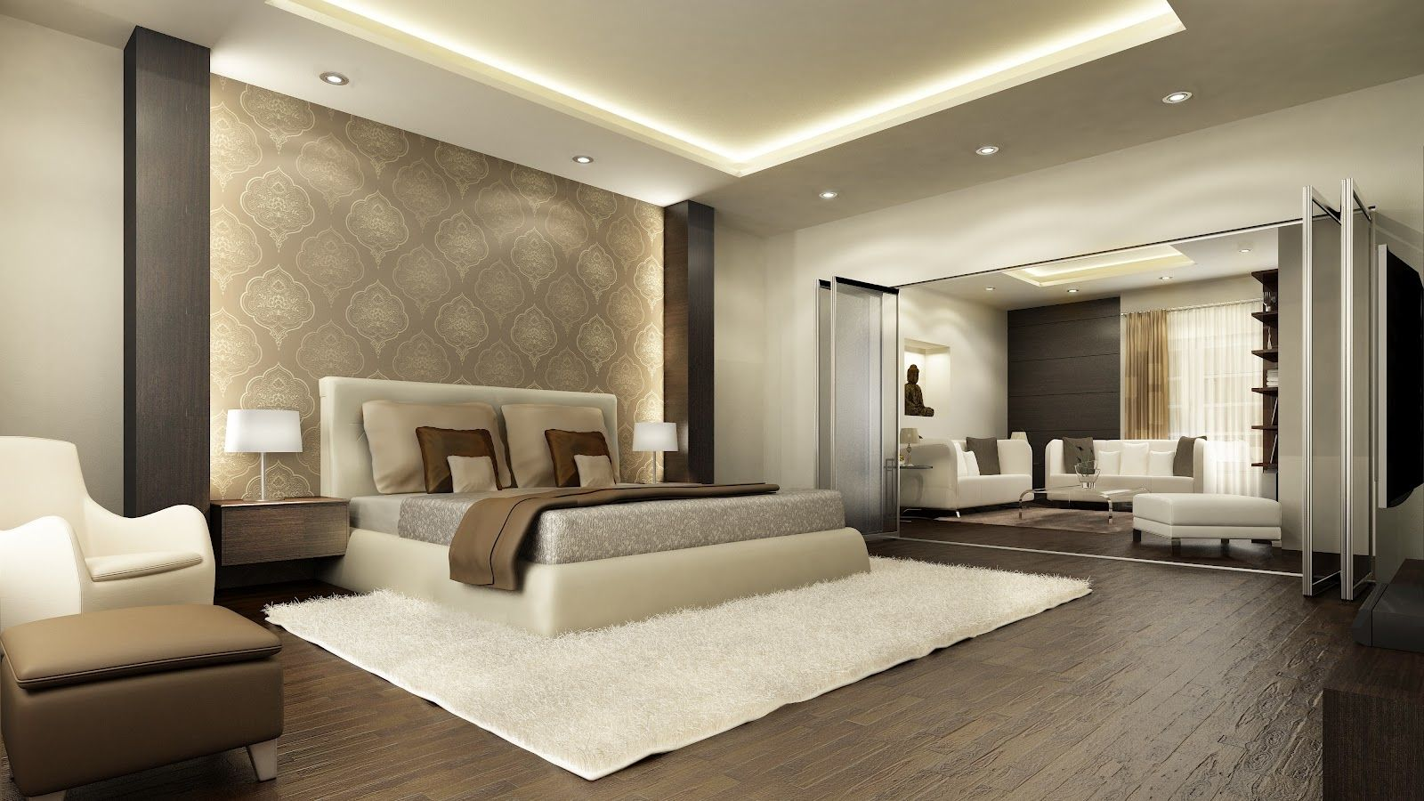 Bedroom Interior : Sophisticated Penthouse Master Bedroom