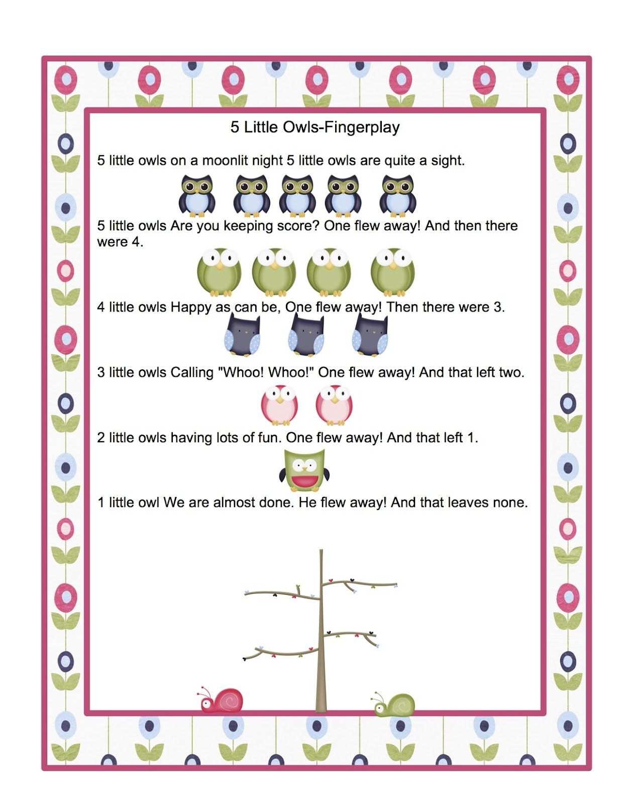 Preschool Printables Free Owl Songs Printable