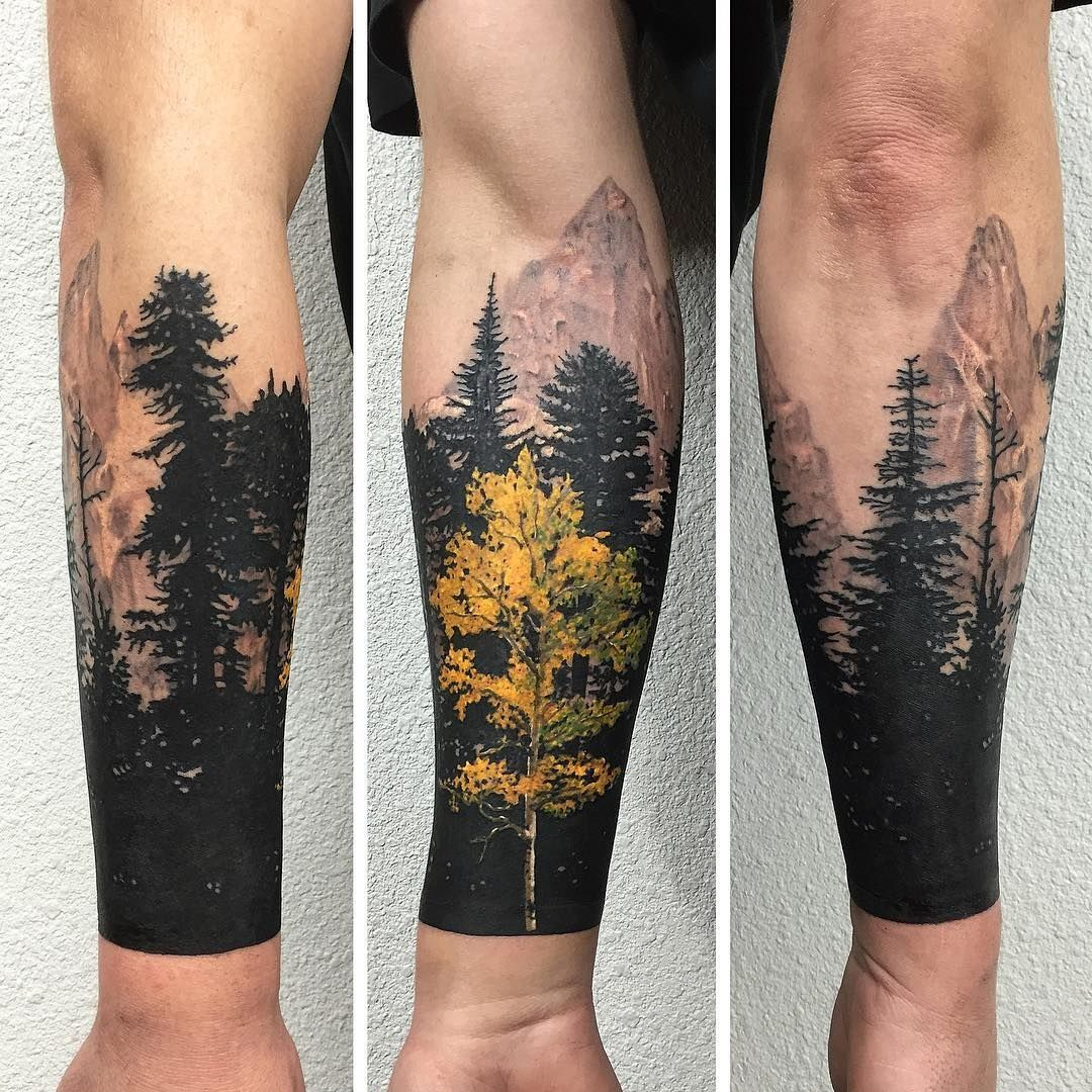 Yellow and black tree sleeve tattoo Tattoo Ideas