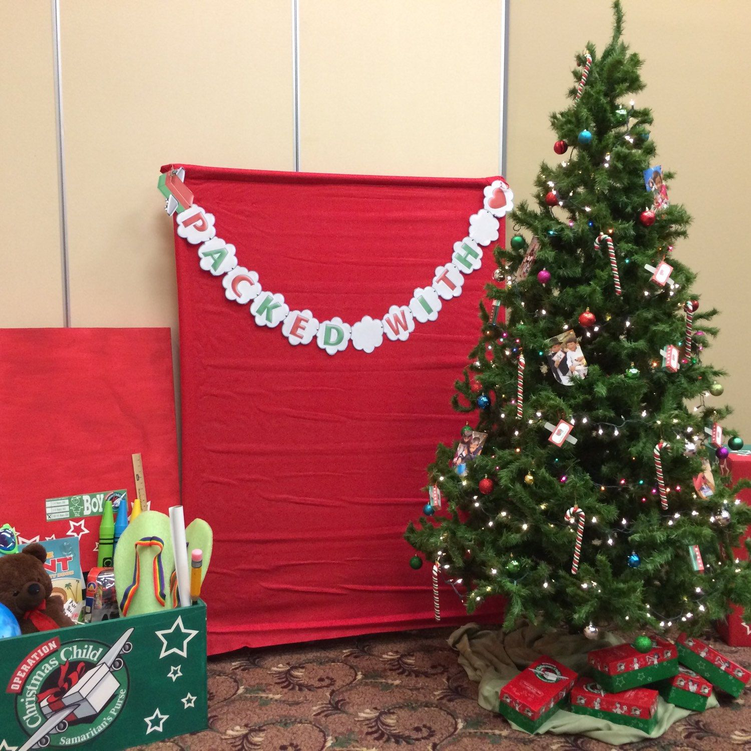 Our Shoebox Packing Party Banner was on display at a