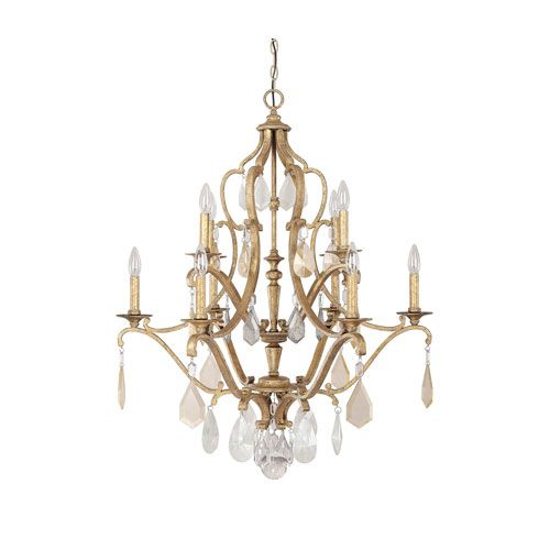 Blakely Antique Gold 10 Light Chandelier With Painted Crystals