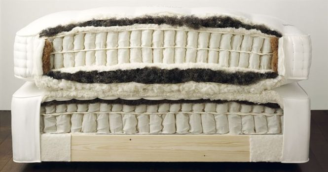 Vi Spring Mattress Coils Wred In Calico Fabric Springs Surrounded By Horsetail Wool And Coir On The Edges Covered Thick Tick