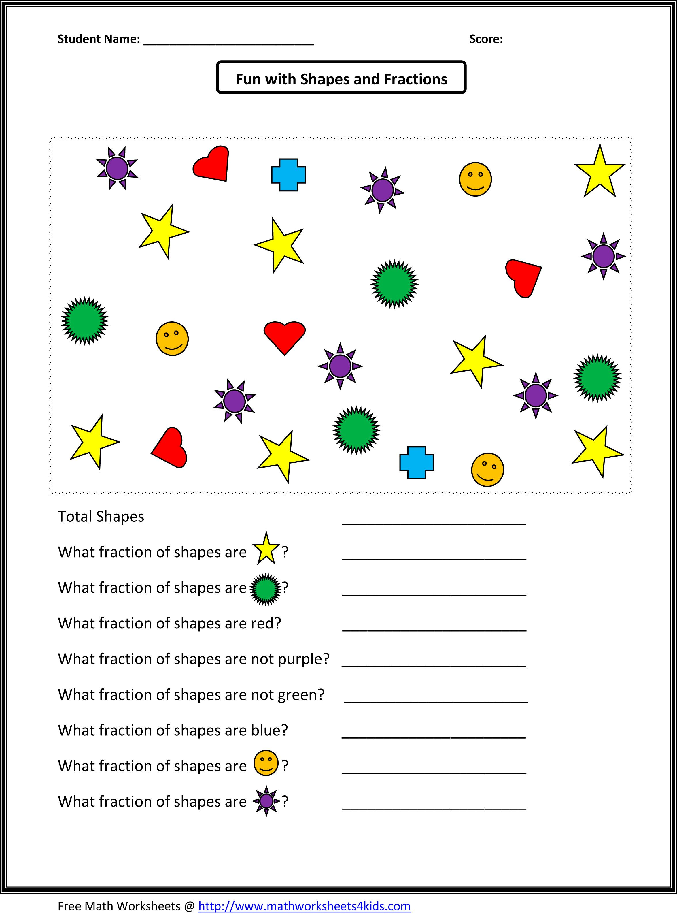 A Set Of Fractional Parts Worksheet