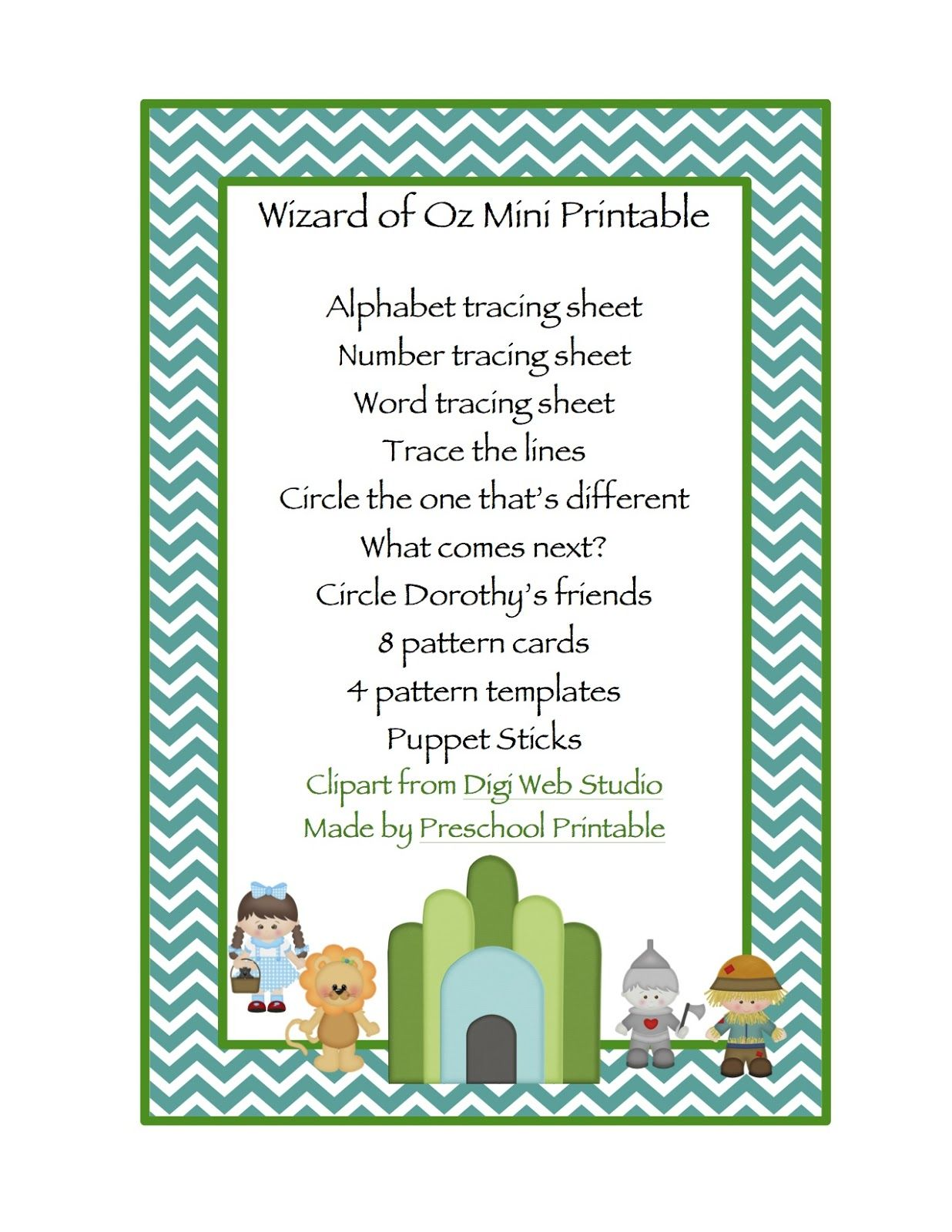 Preschool Printables Wizard Of Oz