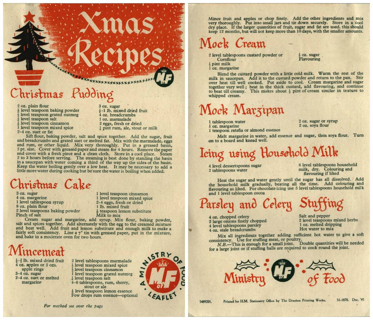 Ministry of Food recipes from 1945 Vintage Christmas