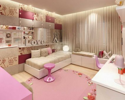 small and modern themes decoration style for teenage girls bedroom