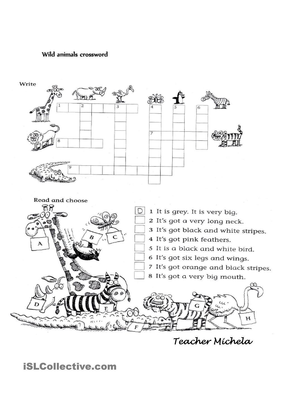 Wild animals crossword Animals Pinterest Wild