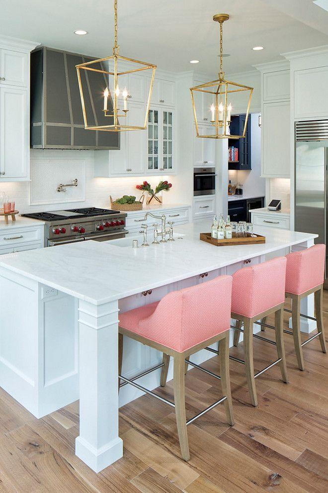 White kitchen with pink bar stools White Kitchens
