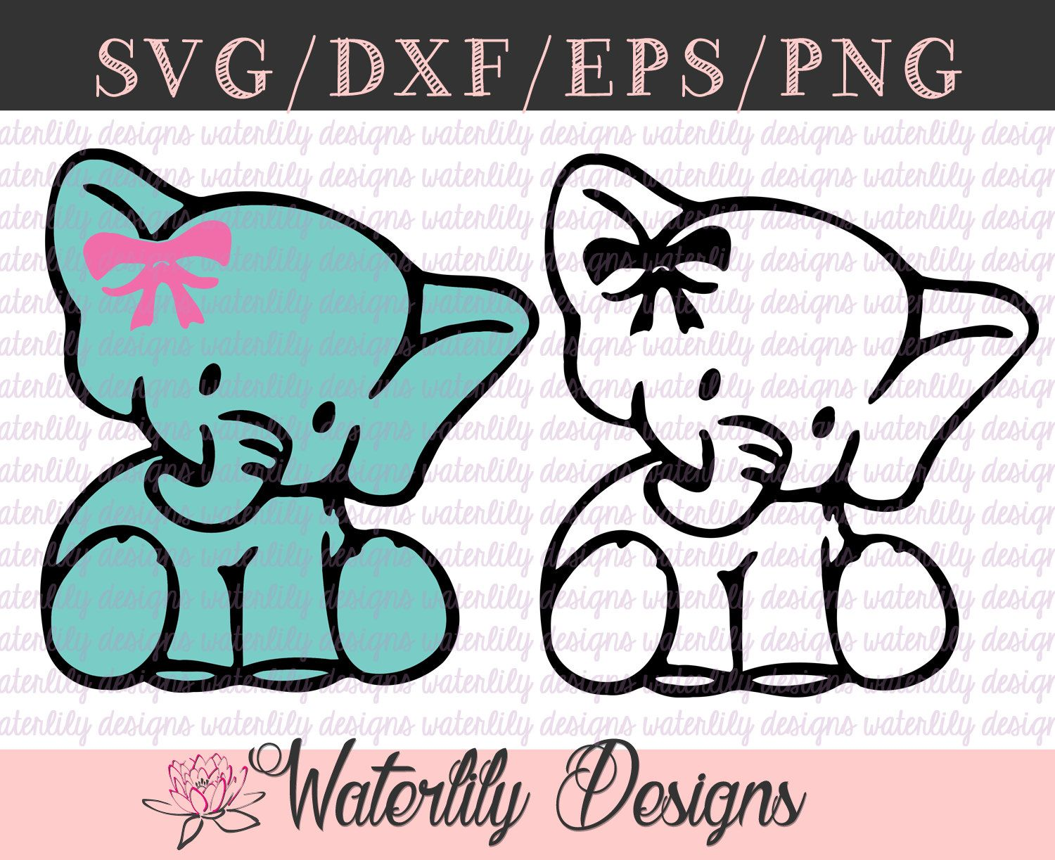 Baby Elephant SVG Cut File Instant Download Animals