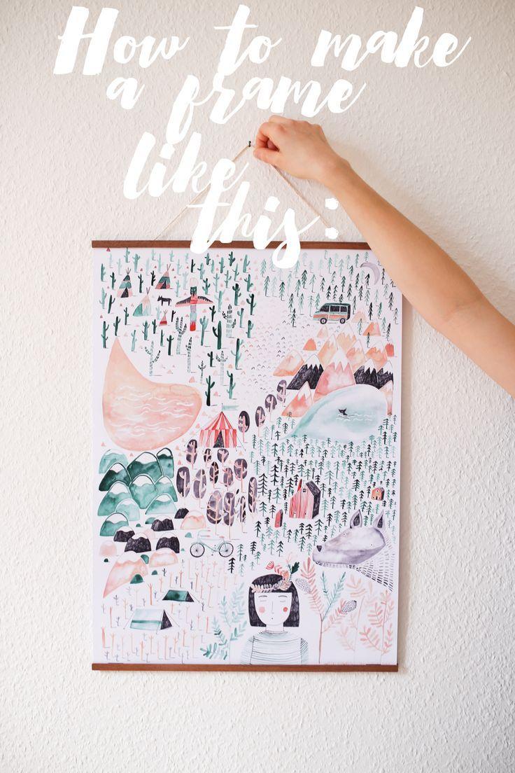 Diy wooden poster hanger diy and crafts