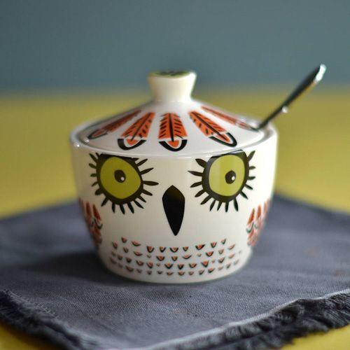 owl ceramic sugar pot by hannah turner