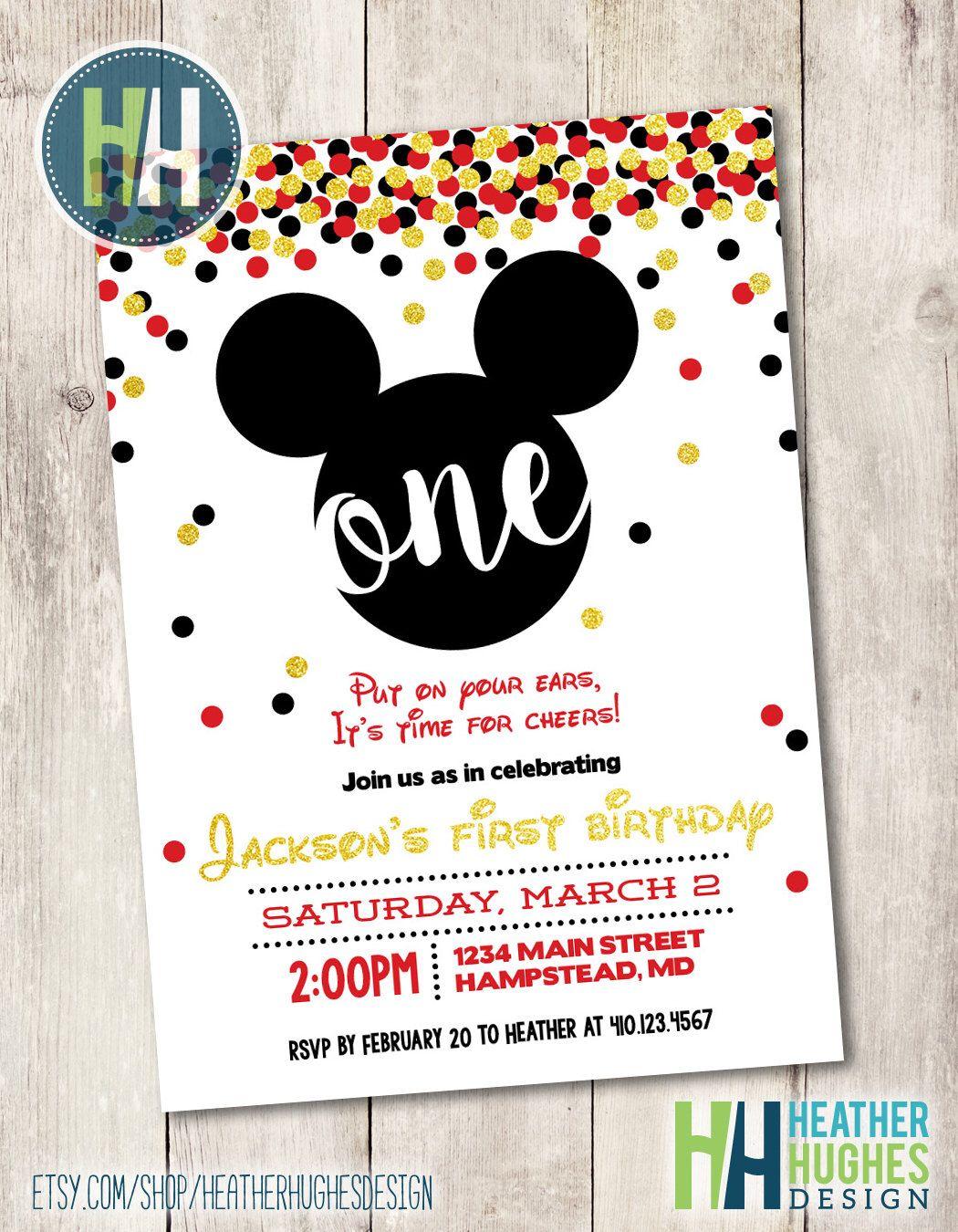 mickey mouse first birthday invite, boy 1st birthday gold