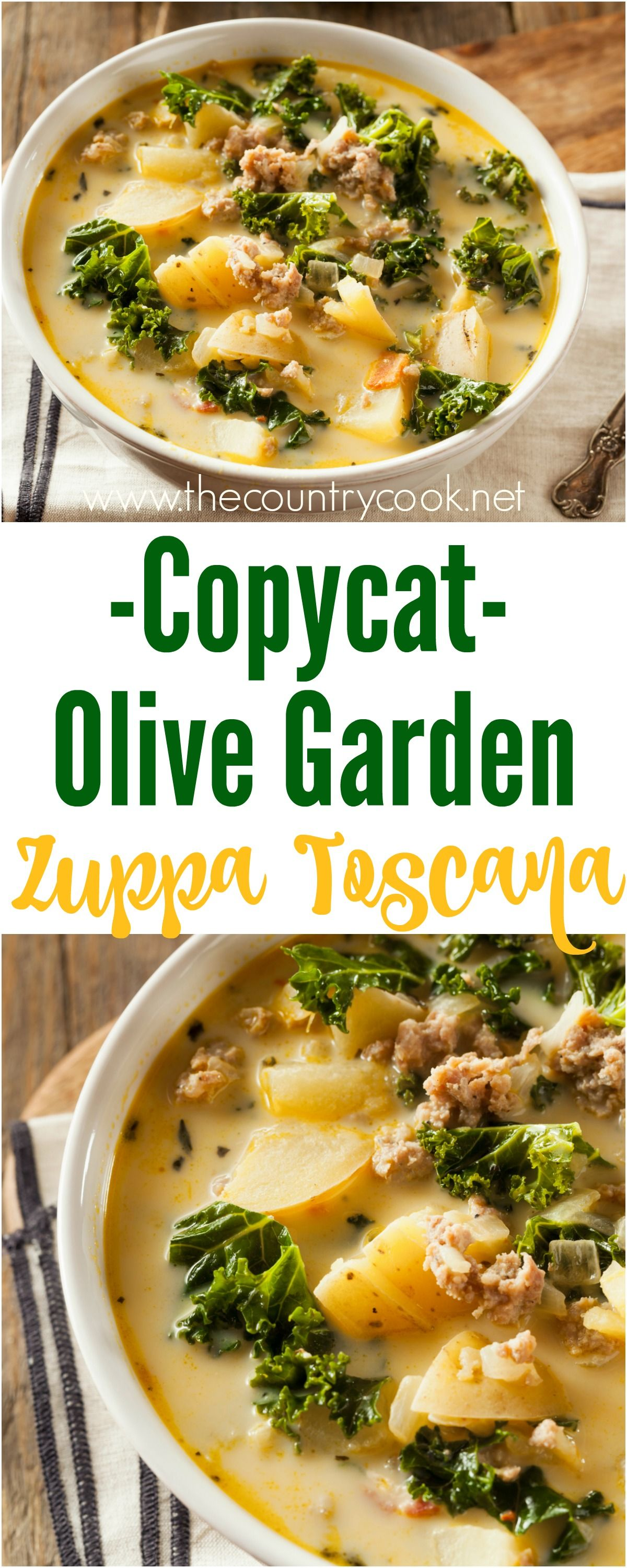 Copycat Olive Garden Zuppa Toscana recipe from The Country