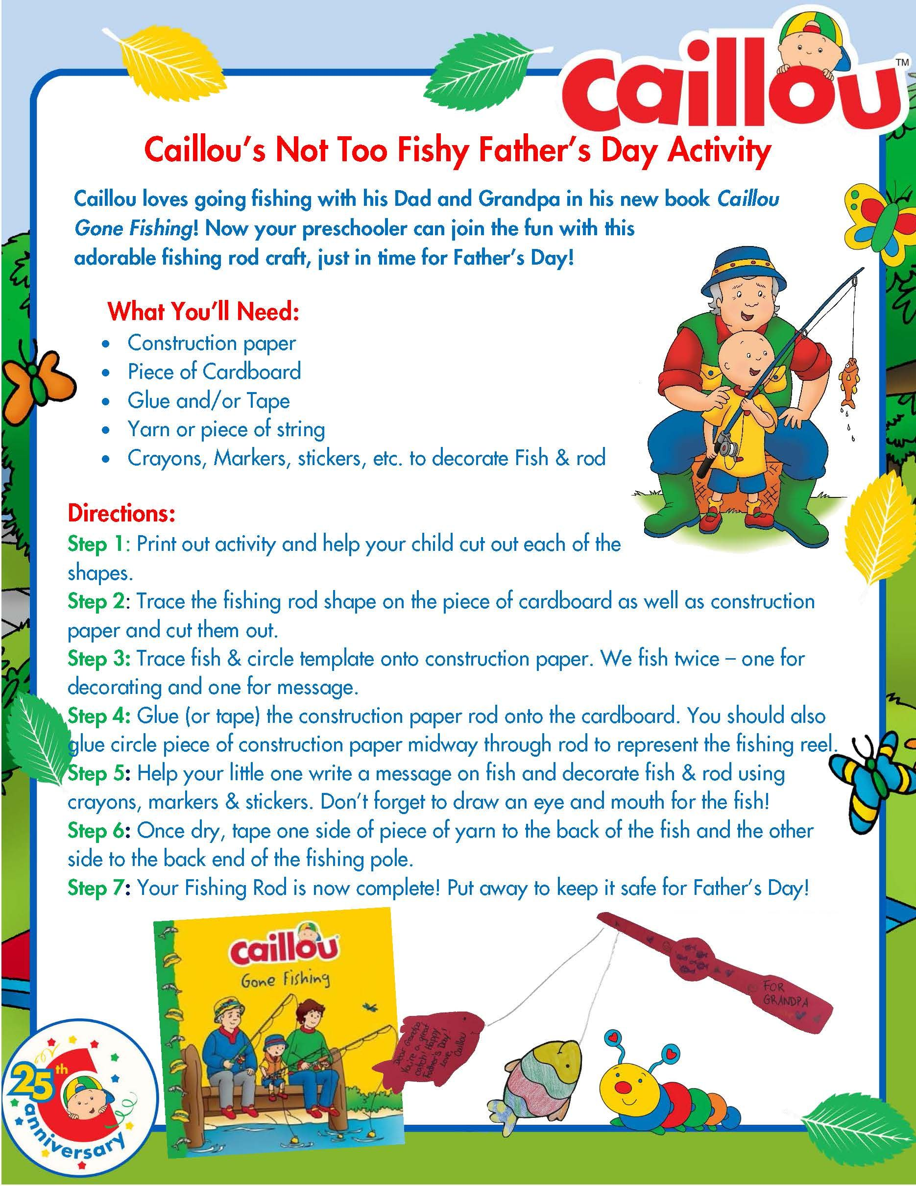 Caillou Father S Day Activity Fishing Rod