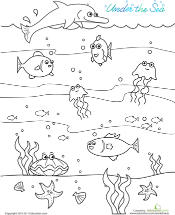 Under the Sea Color the Sea Creatures Worksheets