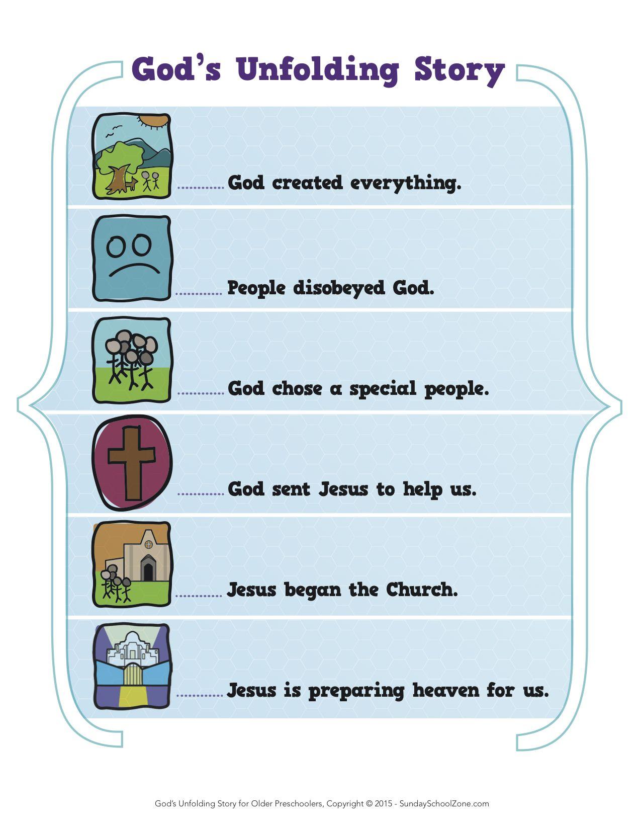 God S Unfolding Story Preschool Story Elements