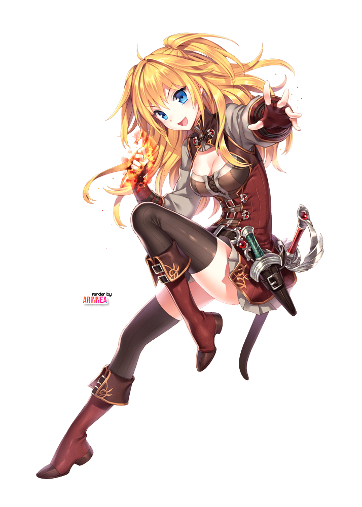 anime girl with blonde hair sword and dagger Google