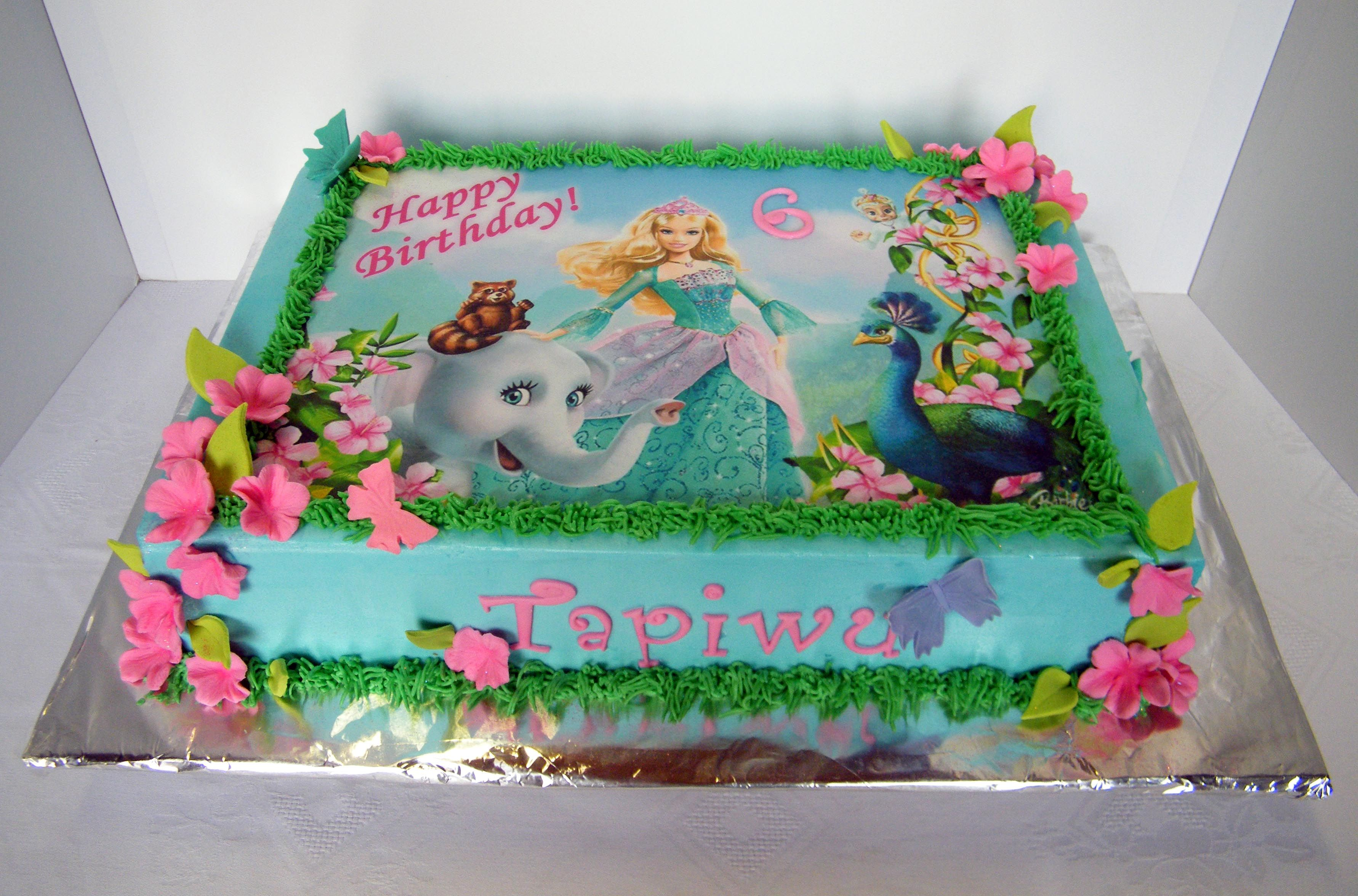 Barbie Themed Sheet Cake With Edible Print