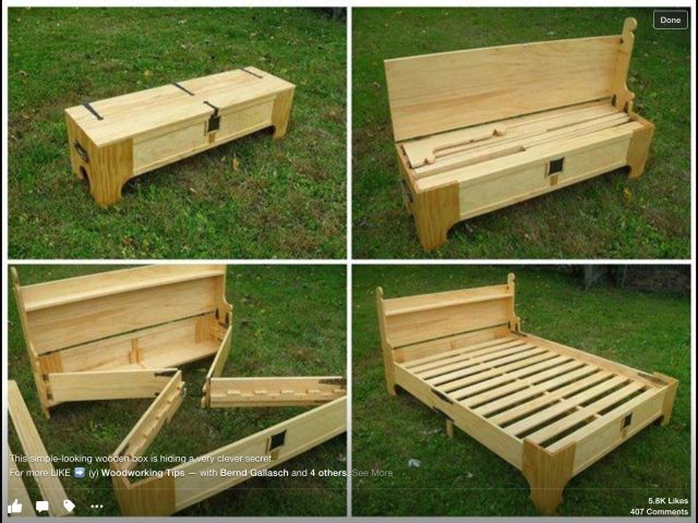 Hidden bed in bench DIY Furniture Pinterest