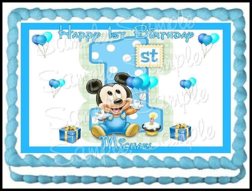 Amazon Baby Mickey 1st Birthday Edible Frosting Sheet