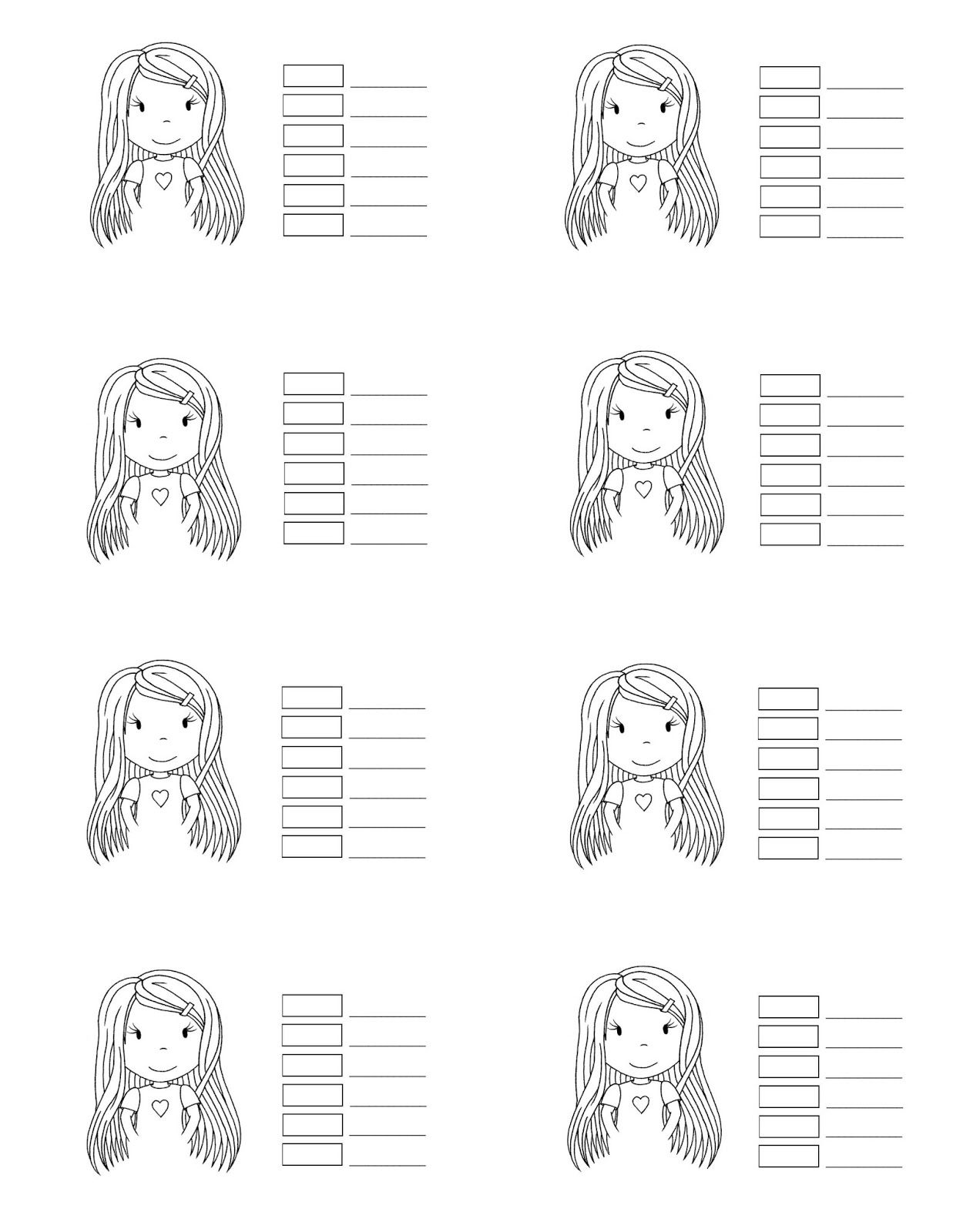 Practice Sheet For Coloring Hair And Face Of Girl