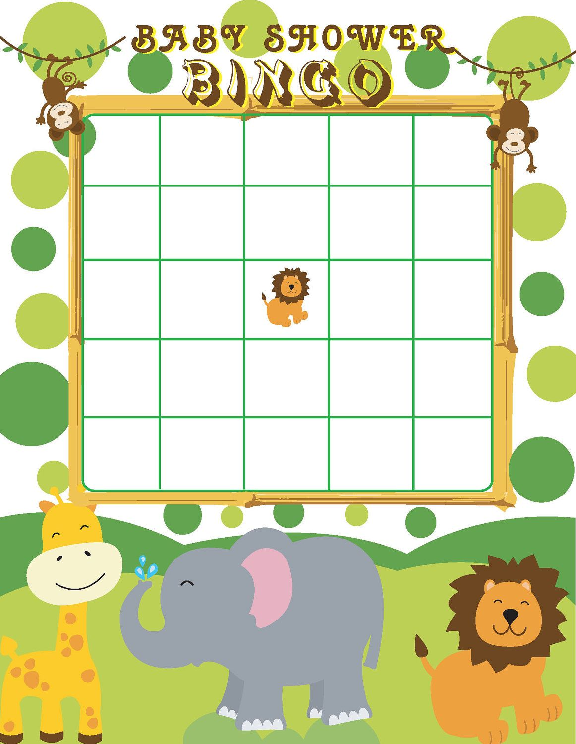 Printable Jungle Themed Baby Shower Bingo By Jennya309 On Etsy 4 50