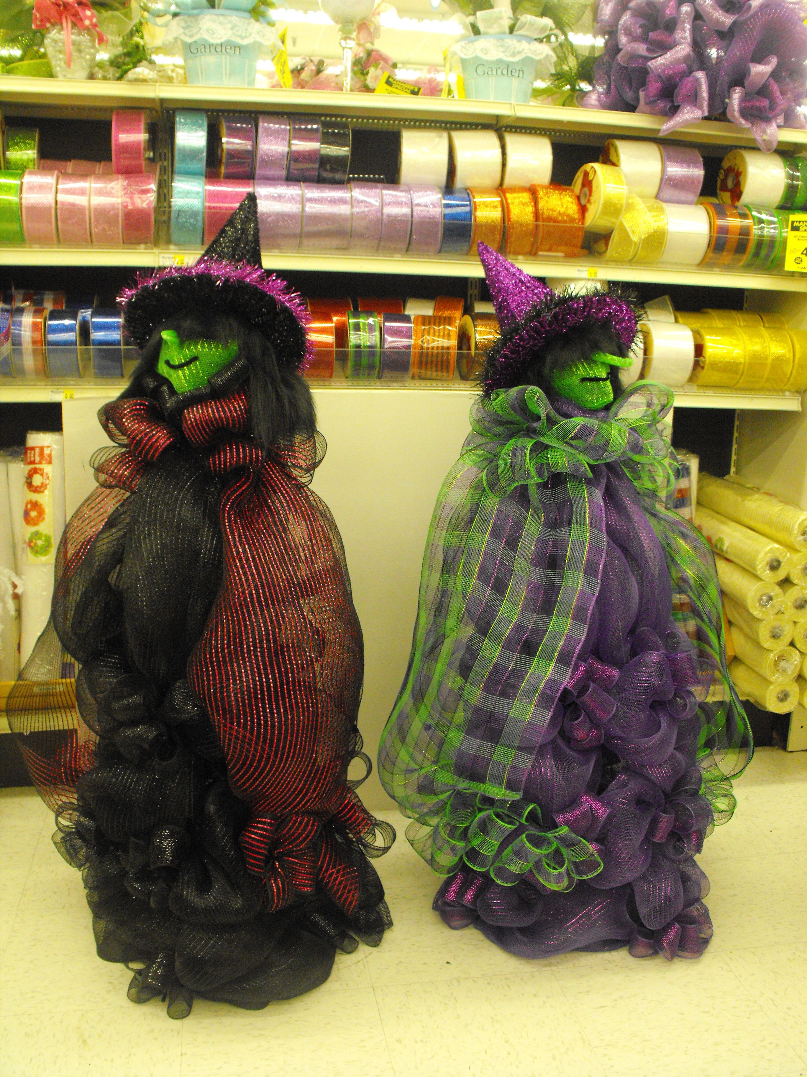 These witches are made out of Deco Mesh Deco Mesh