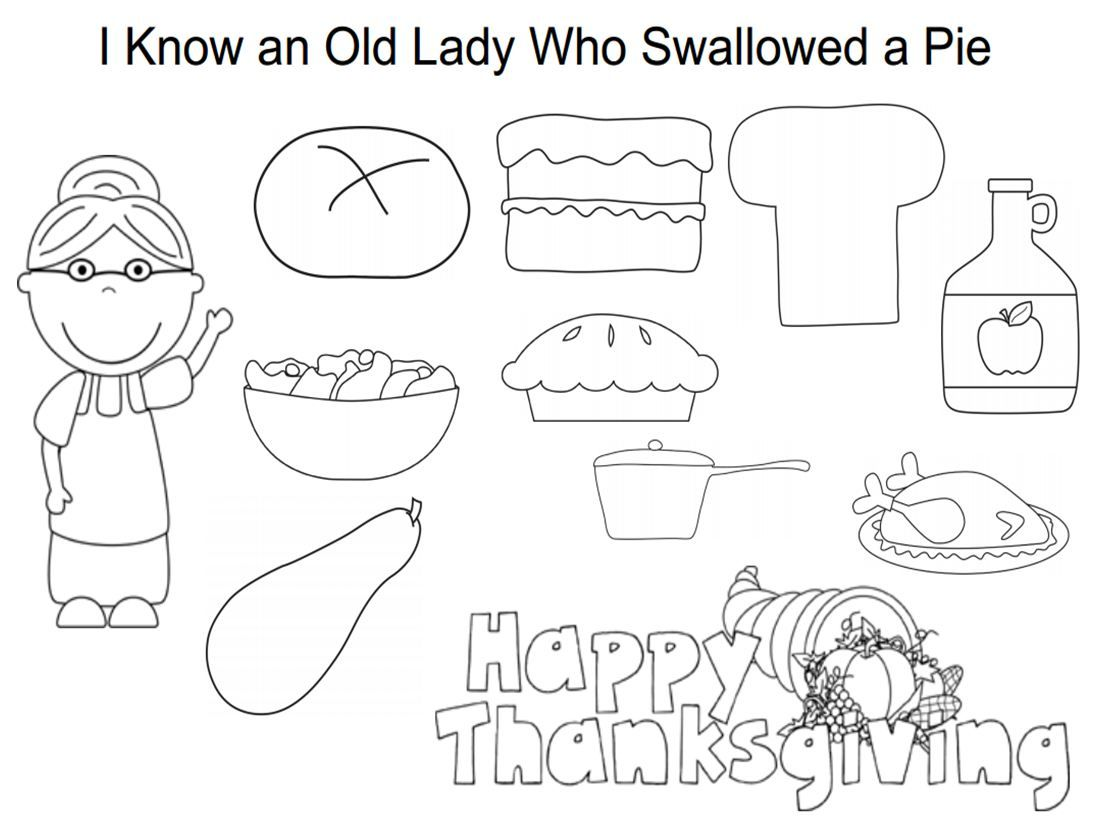 I Know An Old Lady Who Swallowed A Pie Coloring Sheet