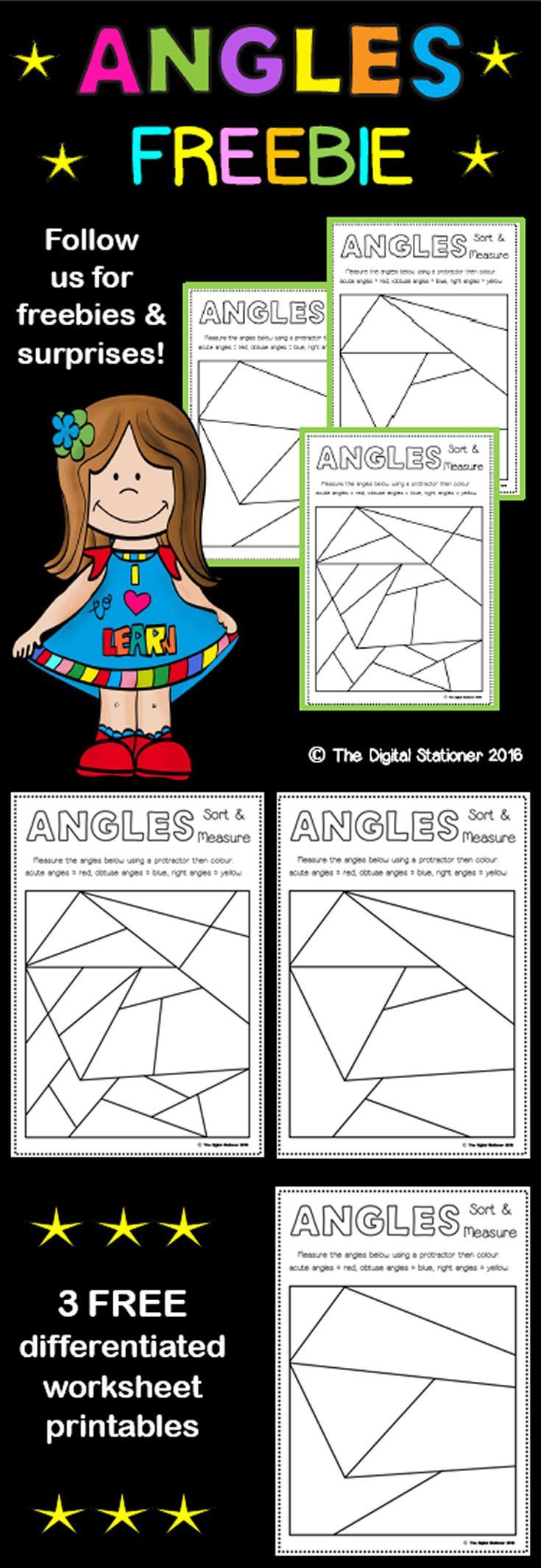 FREE Measuring Angles worksheets printables teaching