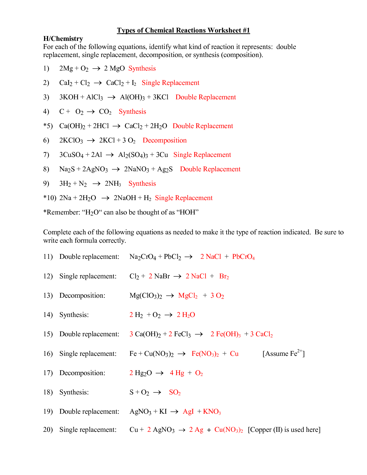 Printables Types Of Chemical Reactions Worksheet Answers