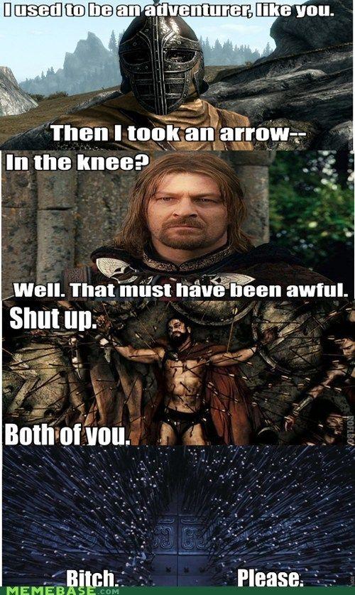 I used to be an adventurer like you, then I took an arrow