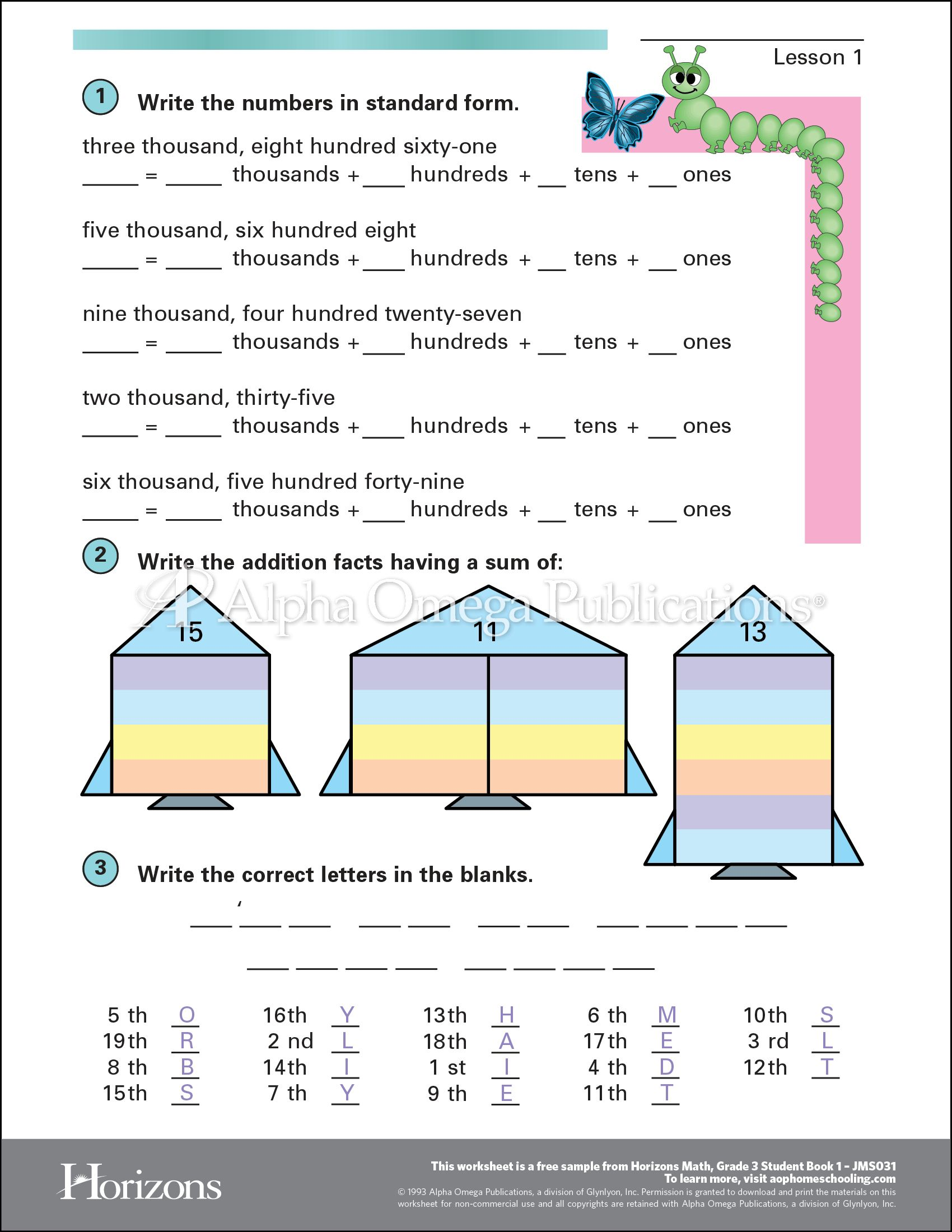 Aop Horizons Free Printable Worksheet Sample Page Download For Homeschooling From Alpha Omega