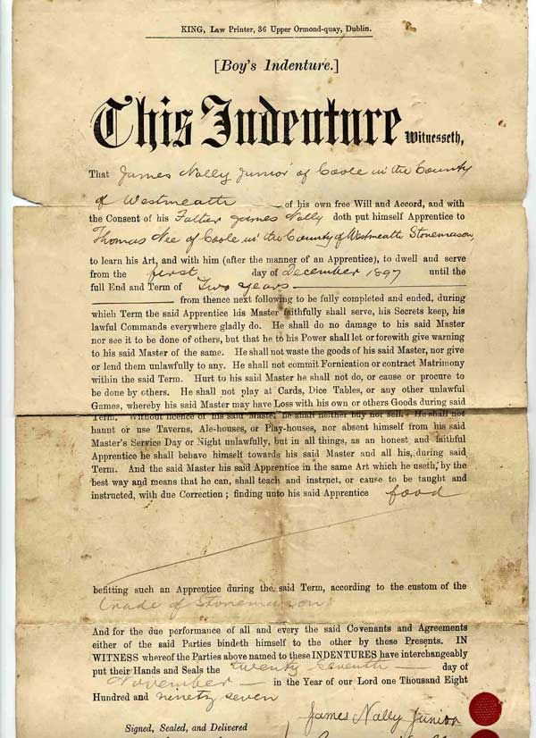 Grandfather's indentured servant agreement Confederate