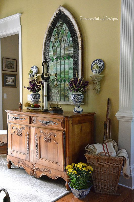 Fall Foyer Antique French Buffet Antique Stained Glass