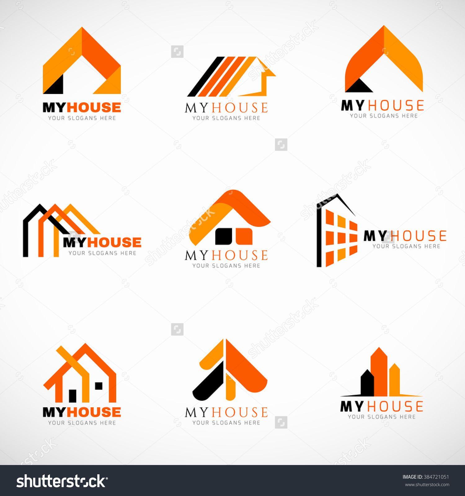 Orange And Black House Logo Set Vector Design 384721051