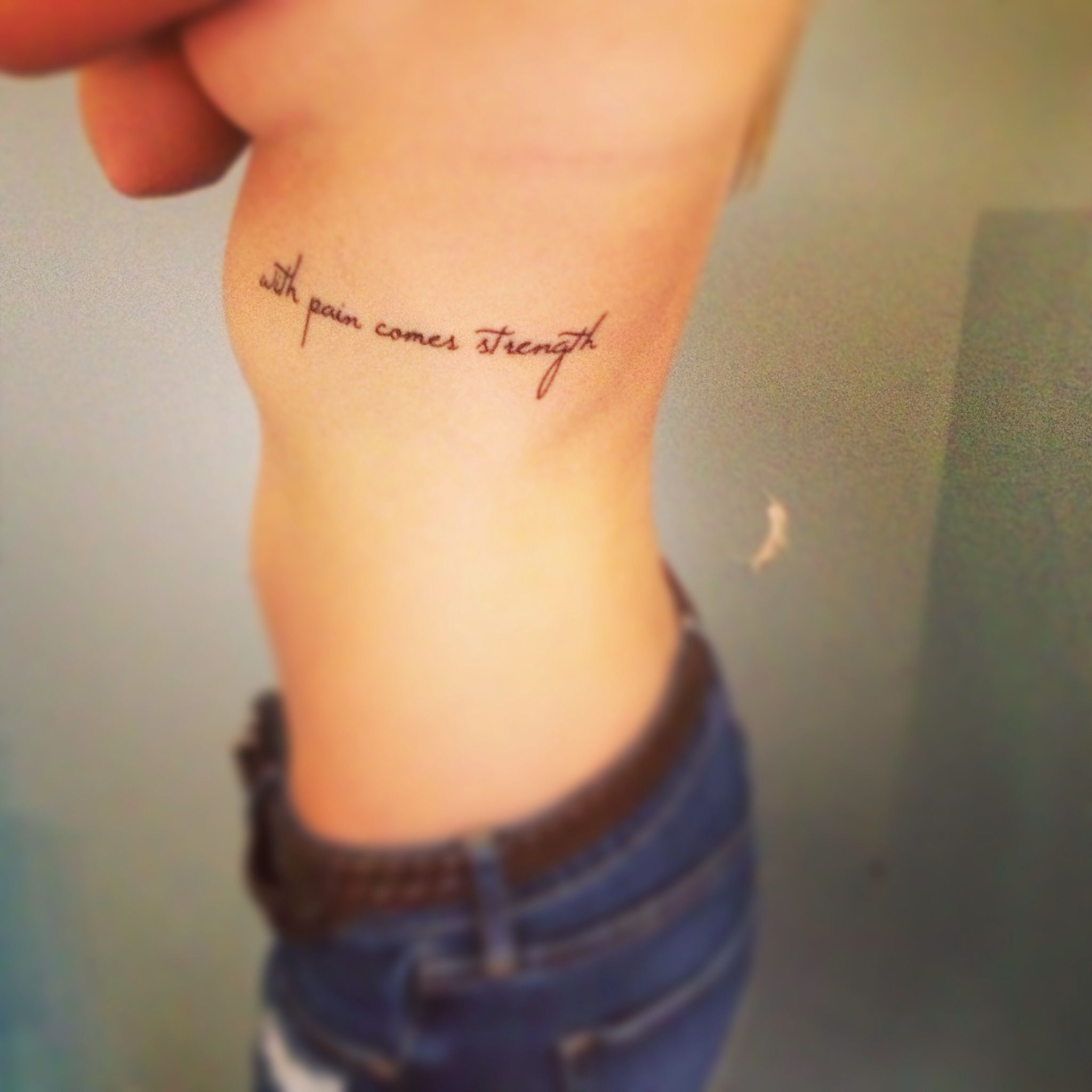 """""""With pain comes strength"""" I got this tattoo because at"""