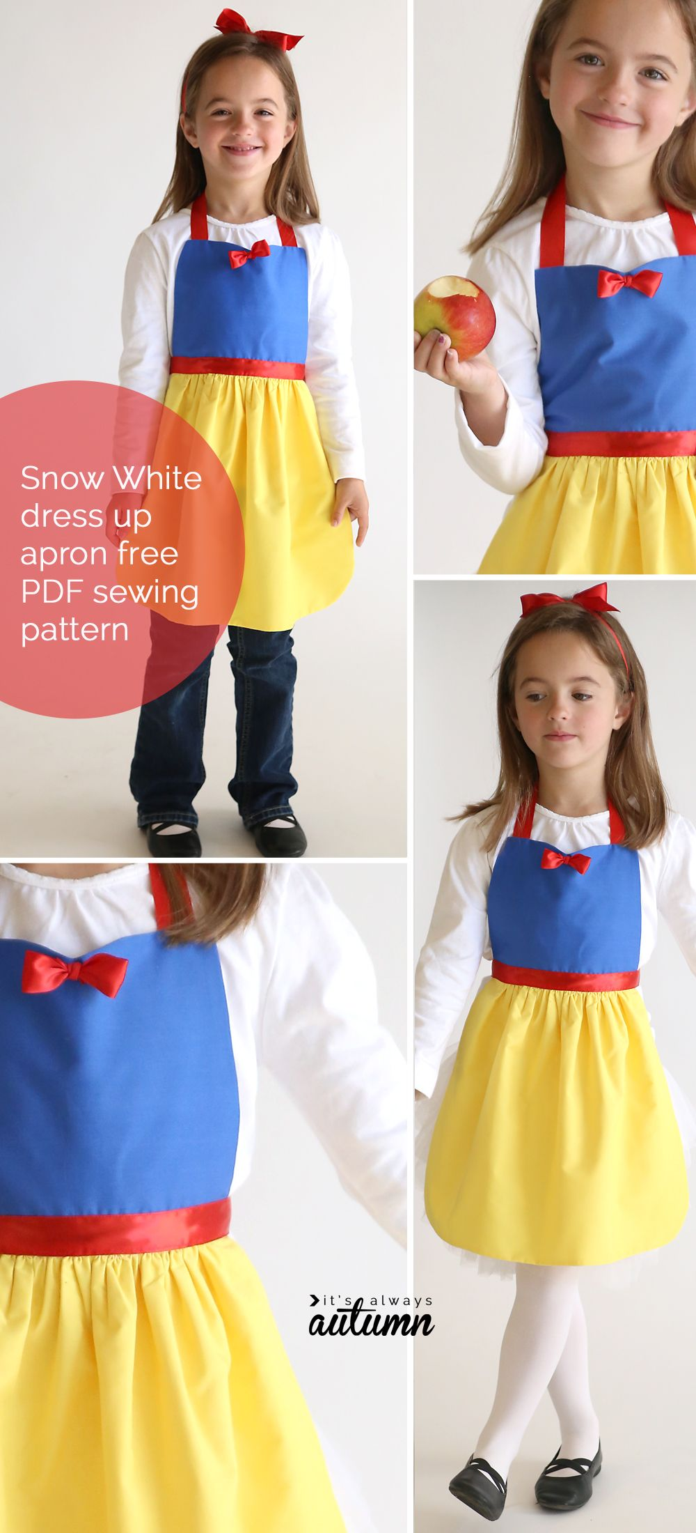 free sewing pattern for Snow White princess dress up apron