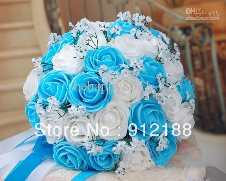 Wholesale 30*Blue With White Rose Flowers For Wedding