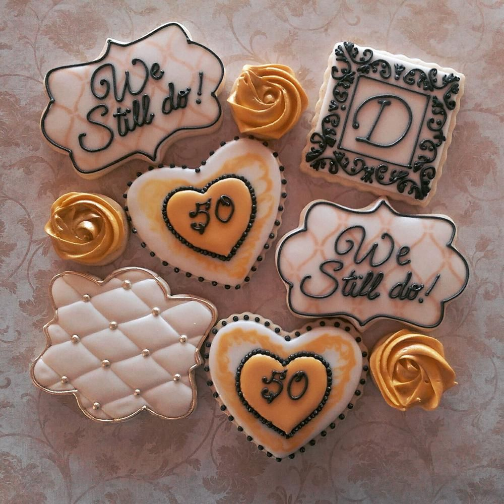 50th Wedding Anniversary Decorated Cookies Cookie