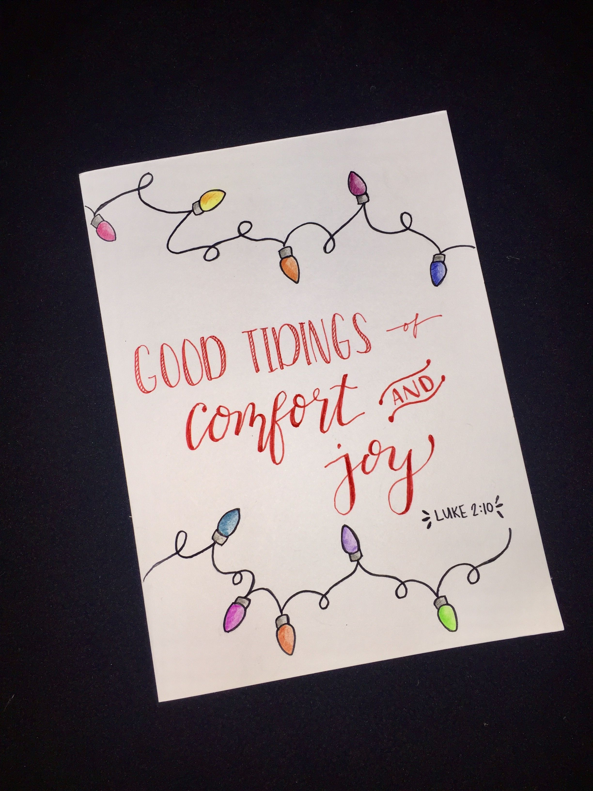 Simple hand drawn / colored pencil lights + calligraphy