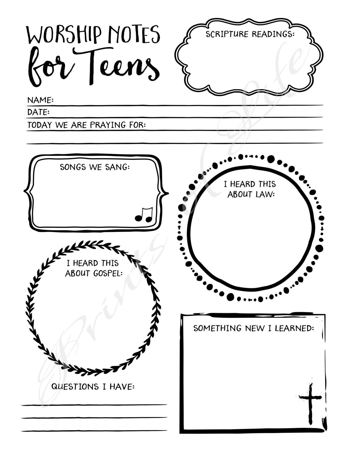 Worship Notes For Teens Sermon Notes Boys Girls By Printsoflife